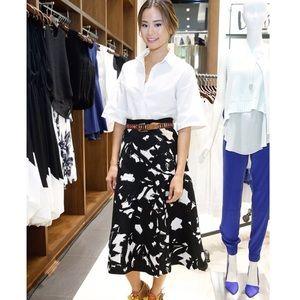 Banana Republic Black Floral Midi Skirt size 10